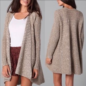 FREE PEOPLE Beached Shell Tan Oversized Cardigan S